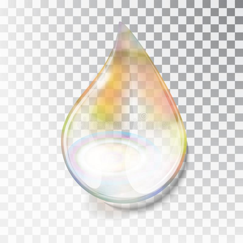 Rainbow dew drop. A drop of oil. Transparent drop of overflow in the sun. Izoltrovannaya drop on a transparent stock illustration