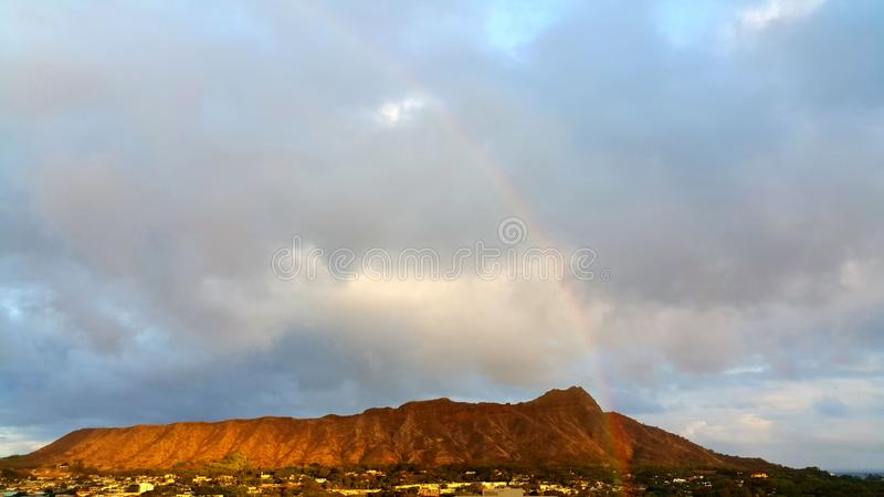 Rainbow at Diamond Head royalty free stock photography