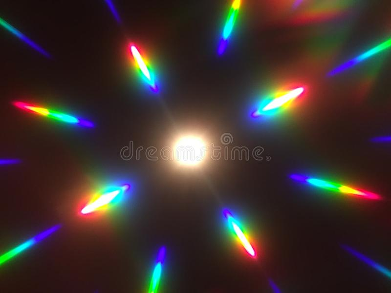 Rainbow Diffraction Pattern from diffraction glasses royalty free stock image