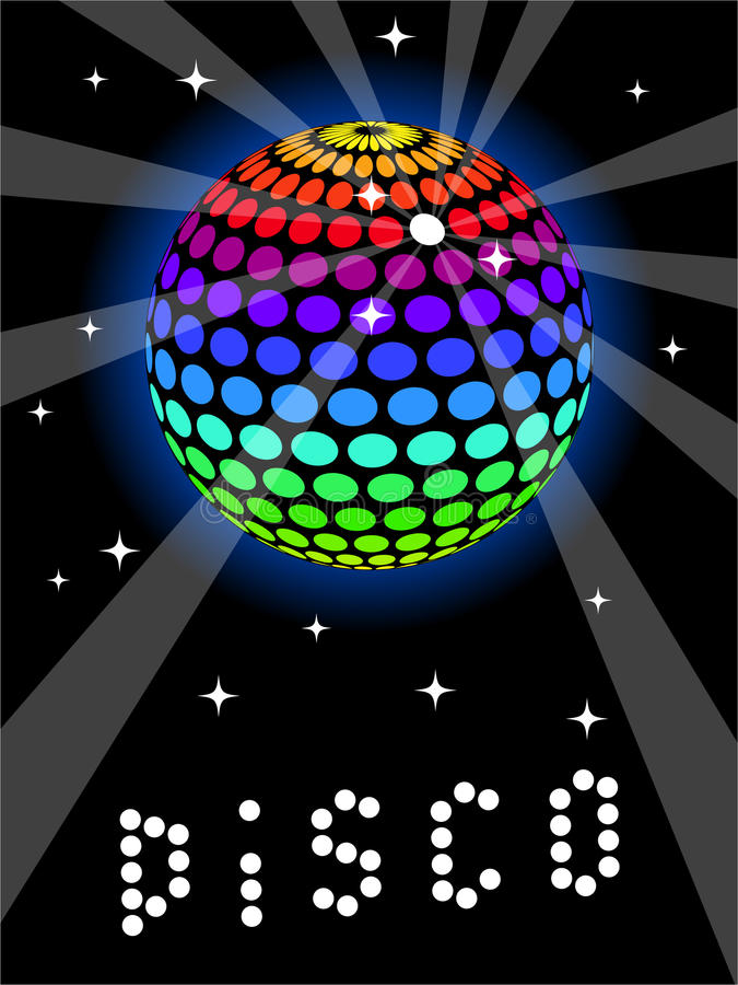 Rainbow Discoball. Multicolored discoball with stars and beams of light vector illustration
