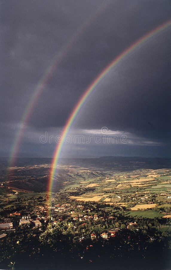 Rainbow double stock images