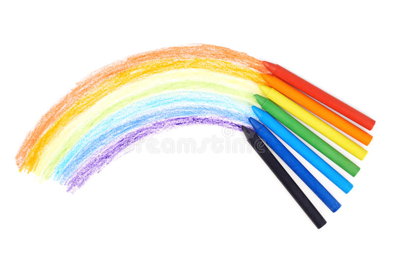 rainbow drawn with the wax crayons stock photo image of draw