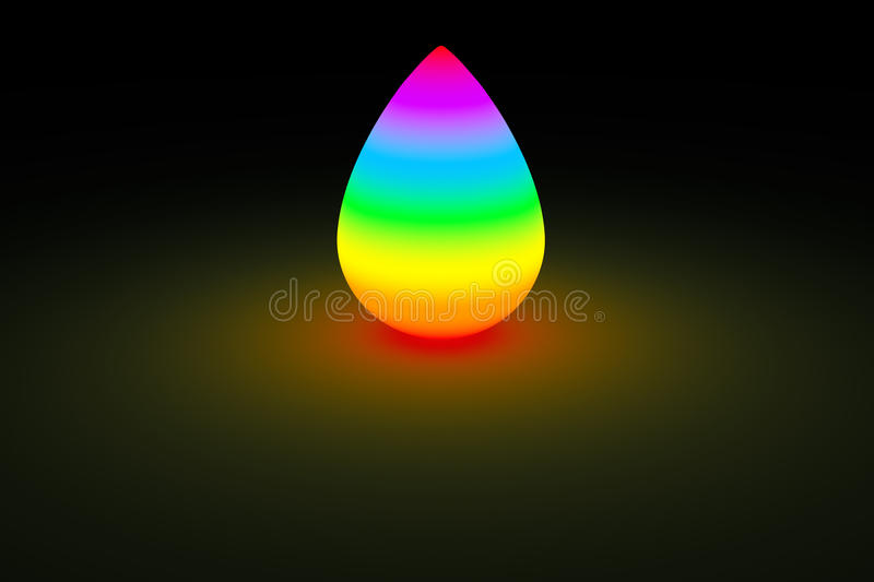 Rainbow droplet glowing in dark color light royalty free illustration