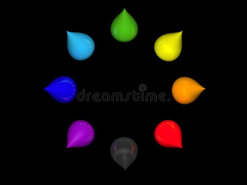 Rainbow drops. 3D rainbow drops on black stock illustration