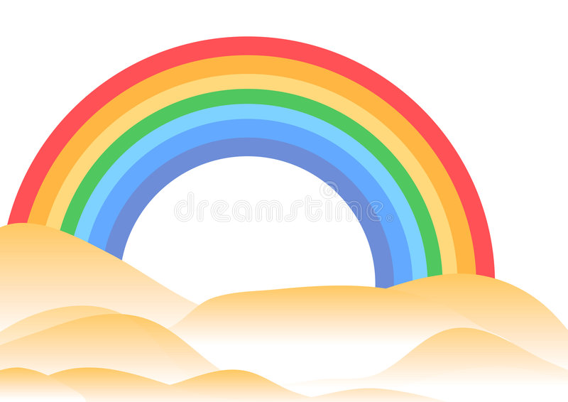 Rainbow e colline illustrazione di stock
