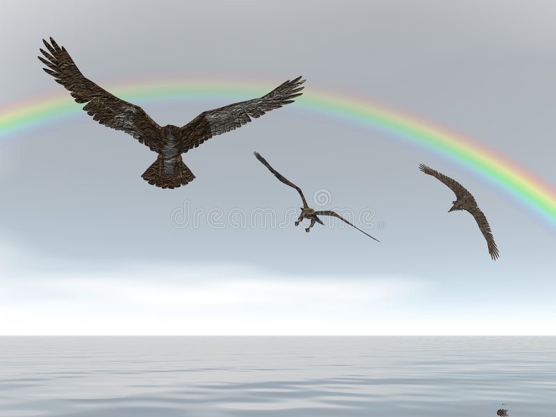 Rainbow Eagles vector illustration