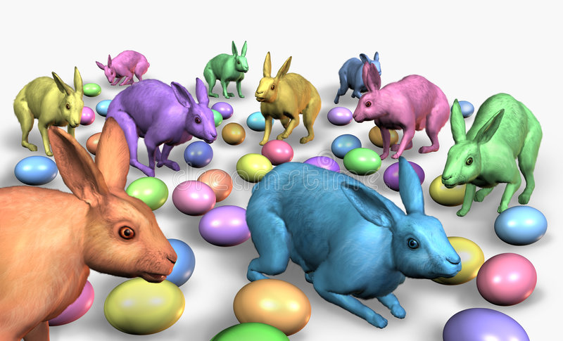 Rainbow Easter Bunnies with Colored Eggs. 3D render of colorful Easter bunnies with lots of eggs stock illustration
