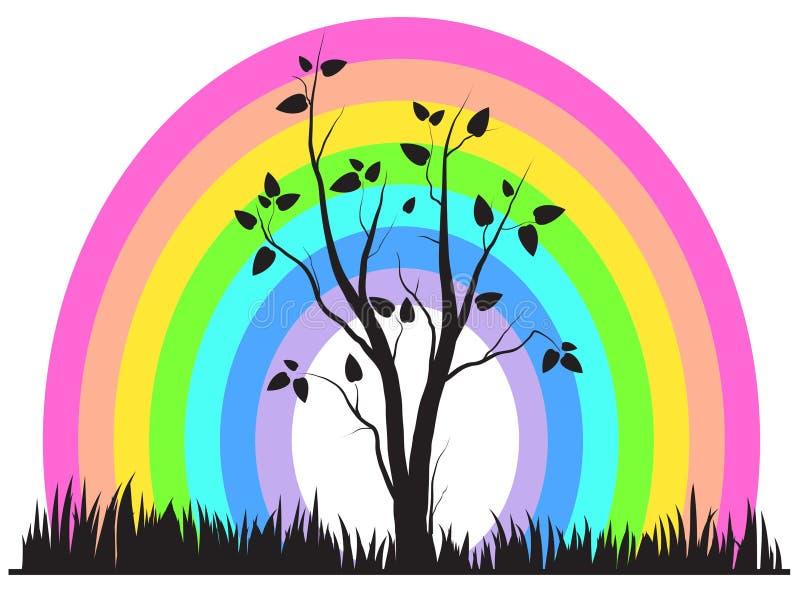 Rainbow ed albero astratti royalty illustrazione gratis