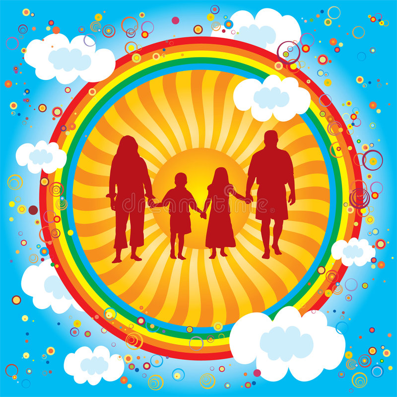 Download Rainbow-family stock vector. Image of child, happy, friends - 7779398