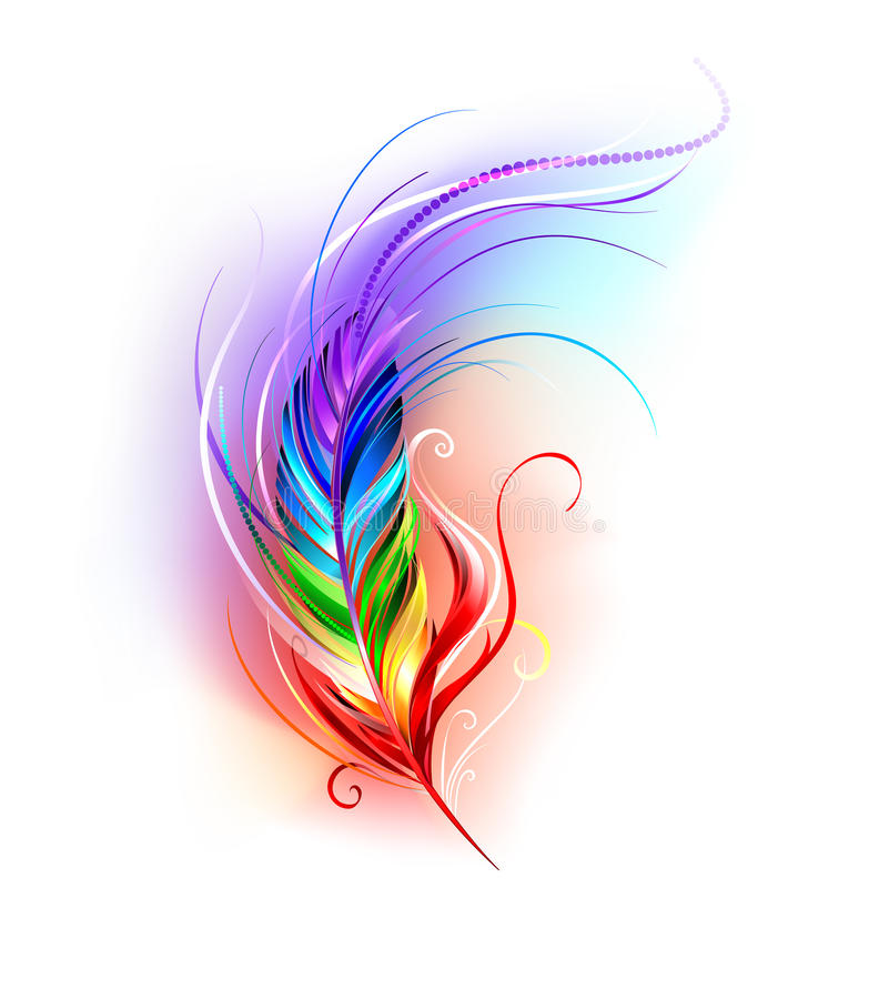 Free Rainbow Feather On White Stock Photos - 49688933