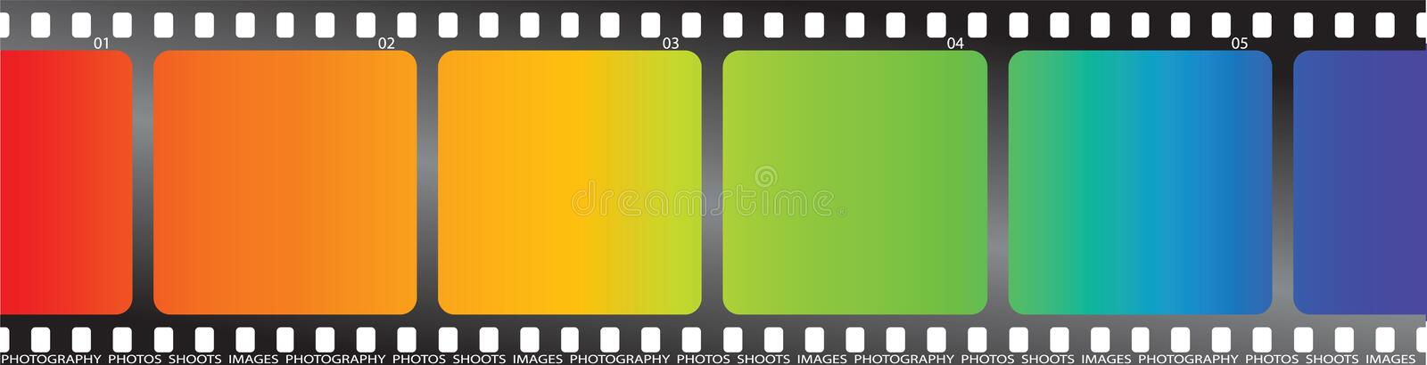 Rainbow film. A single piece of film with a rainbow effect on it royalty free illustration