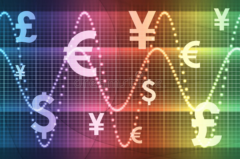 Rainbow Financial Sector Global Currencies. Abstract Background Wallpaper stock illustration