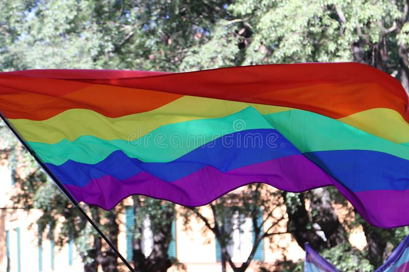 Rainbow flag in a public event. Rainbow flag,  international symbol of peace and self-determination movements in a public event stock image