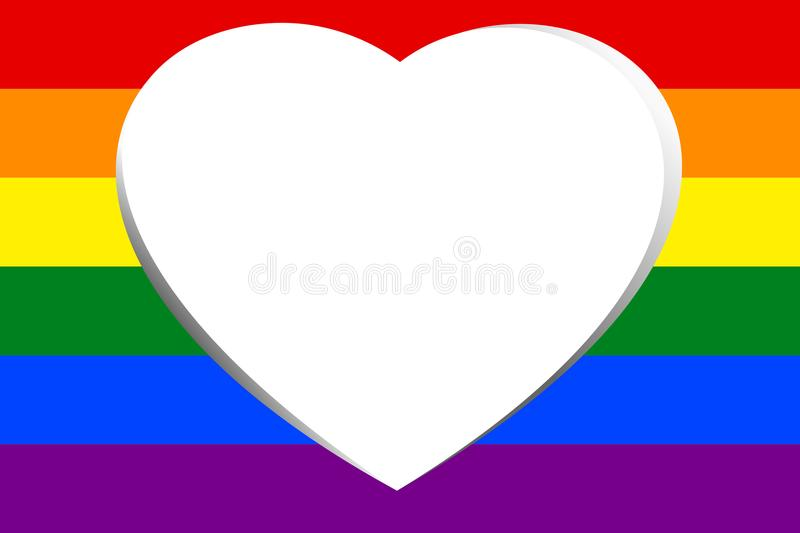 White hollow heart in colorful rainbow striped. Vector illustration. royalty free illustration