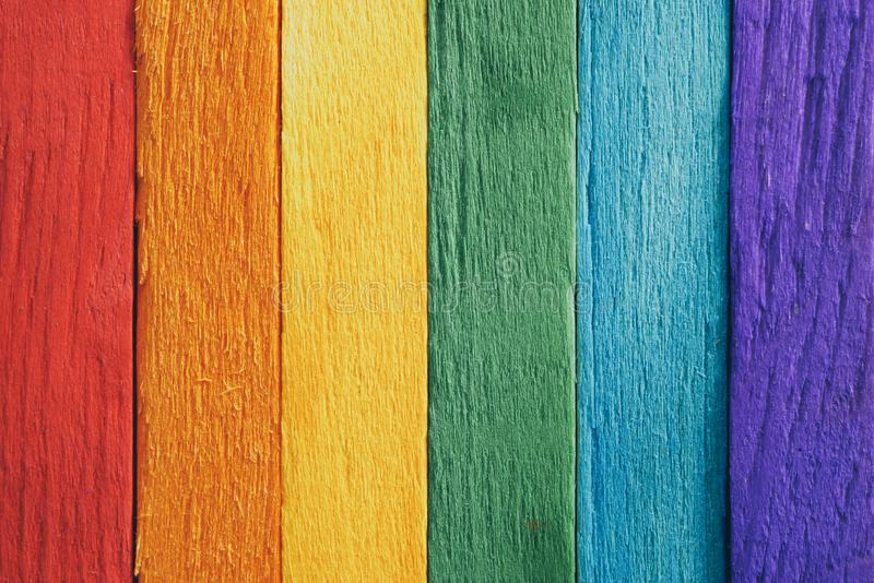 Rainbow flag wood plank Texture background for design royalty free stock image