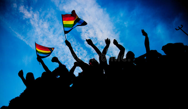 Rainbow flags royalty free stock images