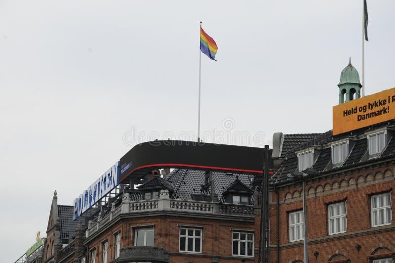 RAINBOW FLAGS FLYS OVER DANISH MEDIA HOUSE. 20 August 2016- Rainbow flag flys over danish largest media house Politiken daily ,JP and Ekstra daily media hoise to stock image