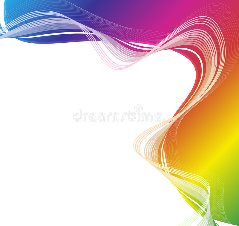 Rainbow flow sheet. Vector illustration of a retro lined art rainbow flow on a textured gray gradient wall royalty free illustration