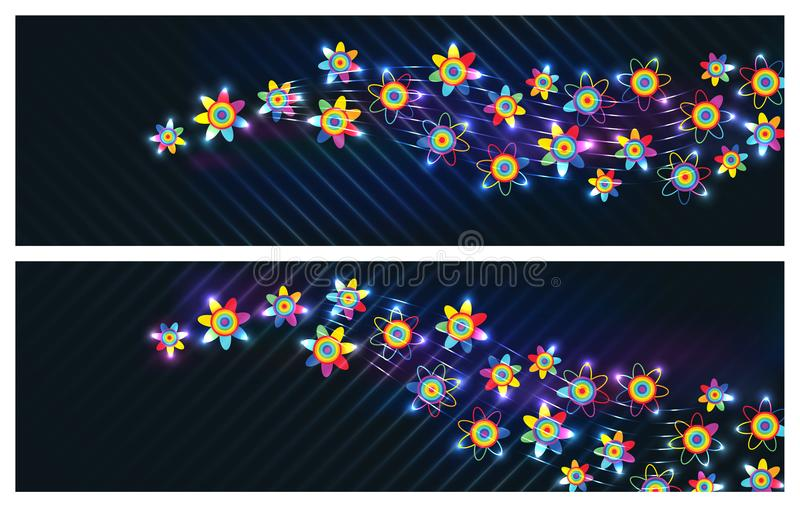 Rainbow flower bright banner RGB. This illustration is design rainbow flower template with bright and dark background in banner size. RGB stock illustration
