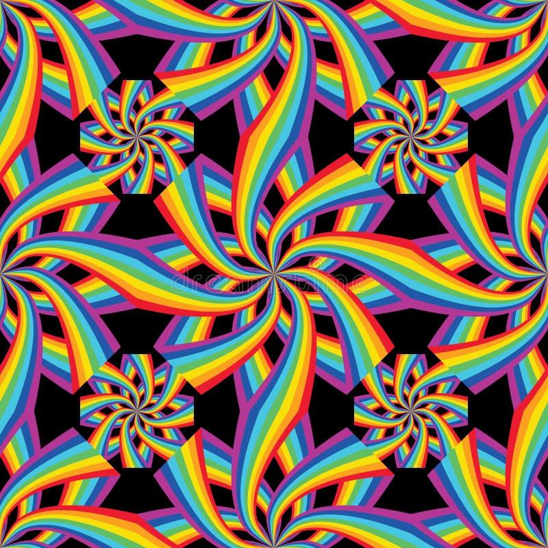 Rainbow flower connect symmetry seamless royalty free illustration