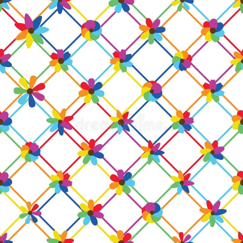 Rainbow flower diamond shape line seamless pattern. This illustration is design rainbow flower with diamond shape line in seamless pattern on white color royalty free illustration