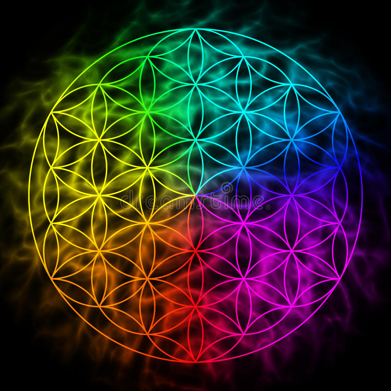 Free Rainbow Flower Of Life With Aura Royalty Free Stock Images - 51630489