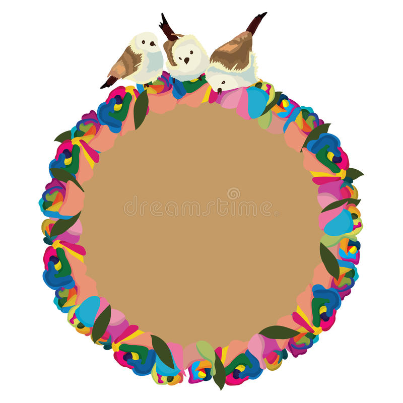 Rainbow flower roses bird circle vector illustration