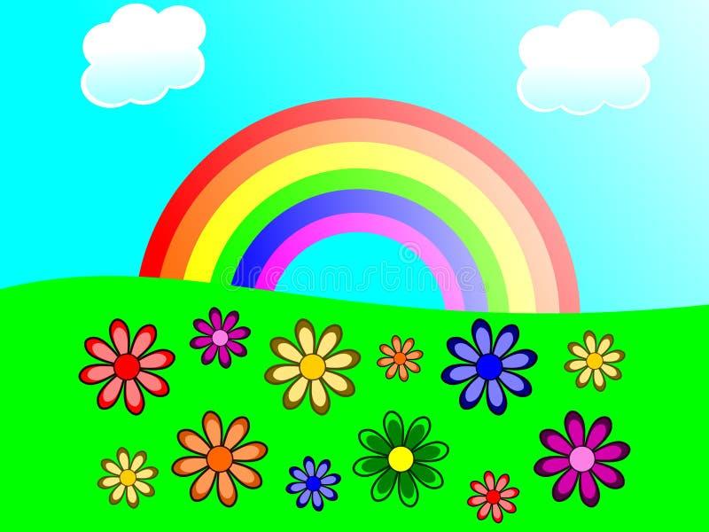 Rainbow and Flowers stock image