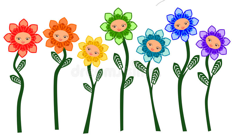 rainbow flowers cartoon vector stock vector illustration of happy rh dreamstime com yellow flowers cartoon images flowers cartoon images free
