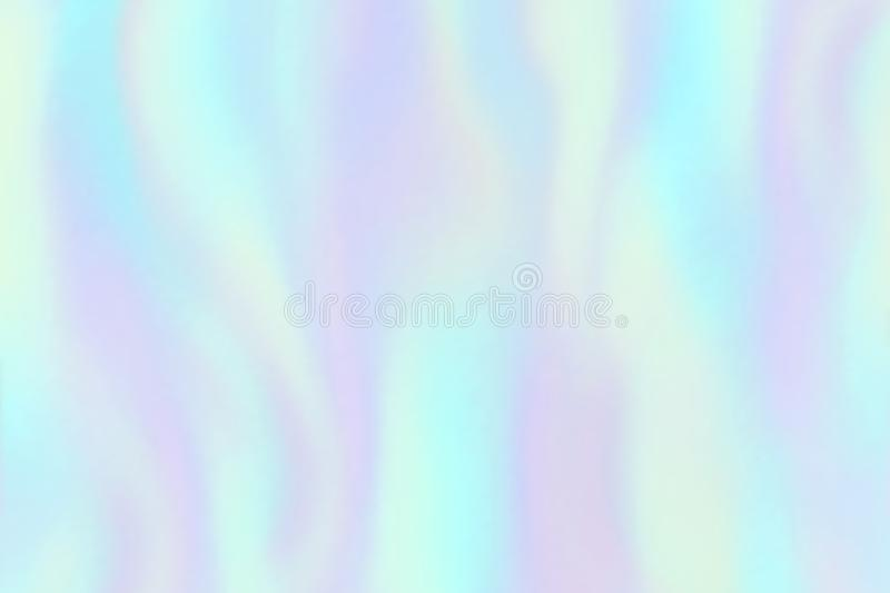 Rainbow foil texture. Iridescent hologram, beautiful holography colorful trendy fashion vector background stock illustration