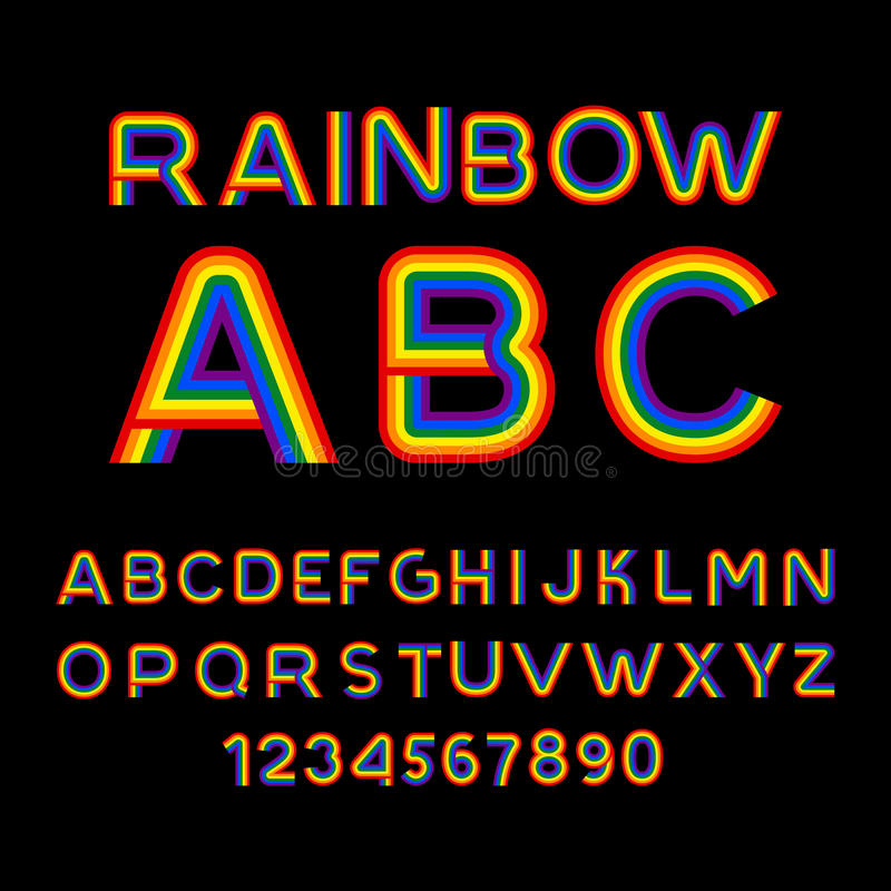 Rainbow Font Lgbt Letters Abc For Symbol Of Gays And Lesbians