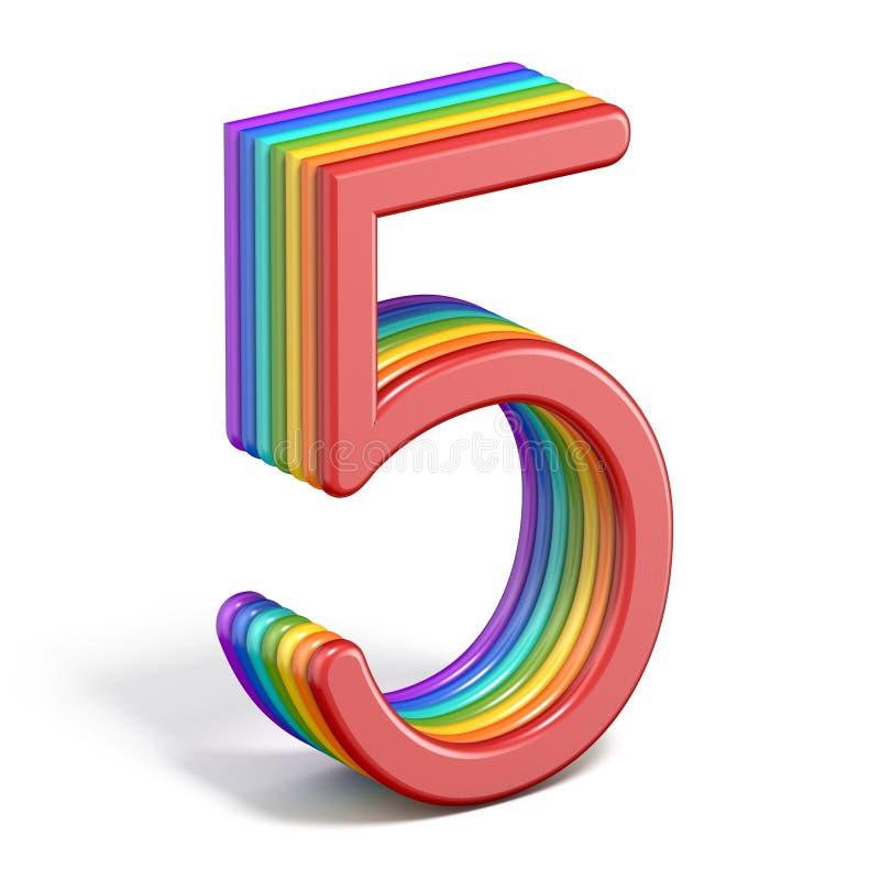 Rainbow font number 5 FIVE 3D vector illustration