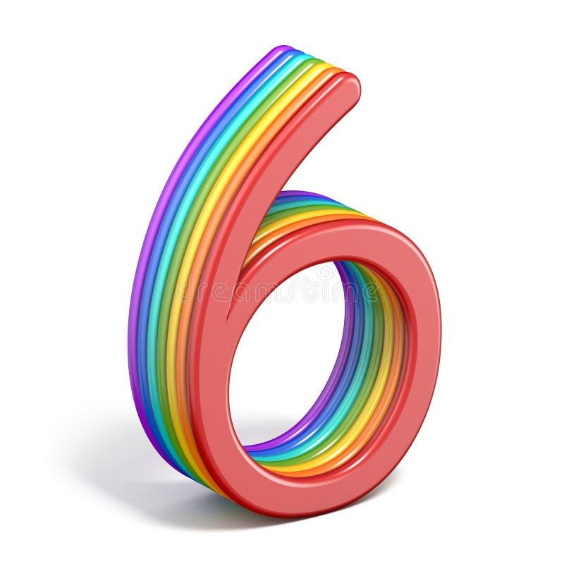 Rainbow font number 6 SIX 3D stock illustration