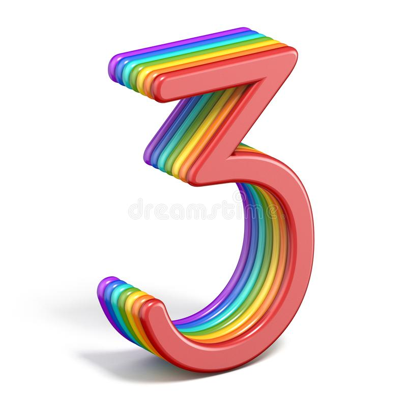 Rainbow font number 3 THREE 3D royalty free illustration