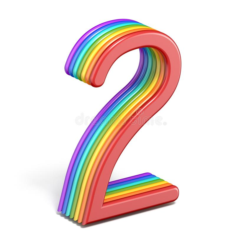 Rainbow font number 2 TWO 3D royalty free illustration