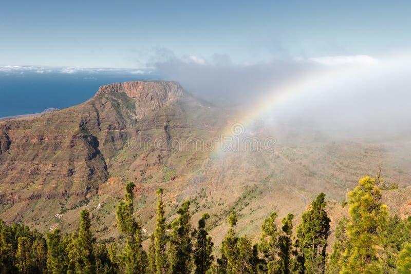 Rainbow in the fortress Chipude, La Gomera, Spain. Rainbow in the fortress Chipude, La Gomera, Canary Islands, Spain stock image