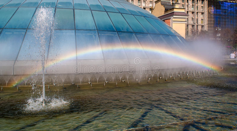 Rainbow in a fountain. Kiev