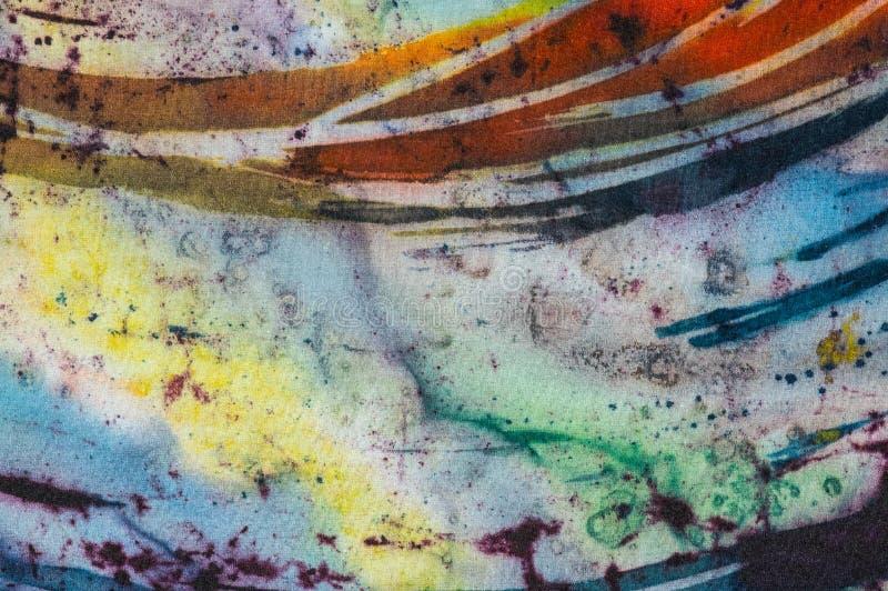 Rainbow, fragment, hot batik, background texture, handmade on silk stock image