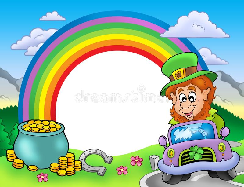 Download Rainbow Frame With Leprechaun In Car Stock Illustration - Image: 12955382