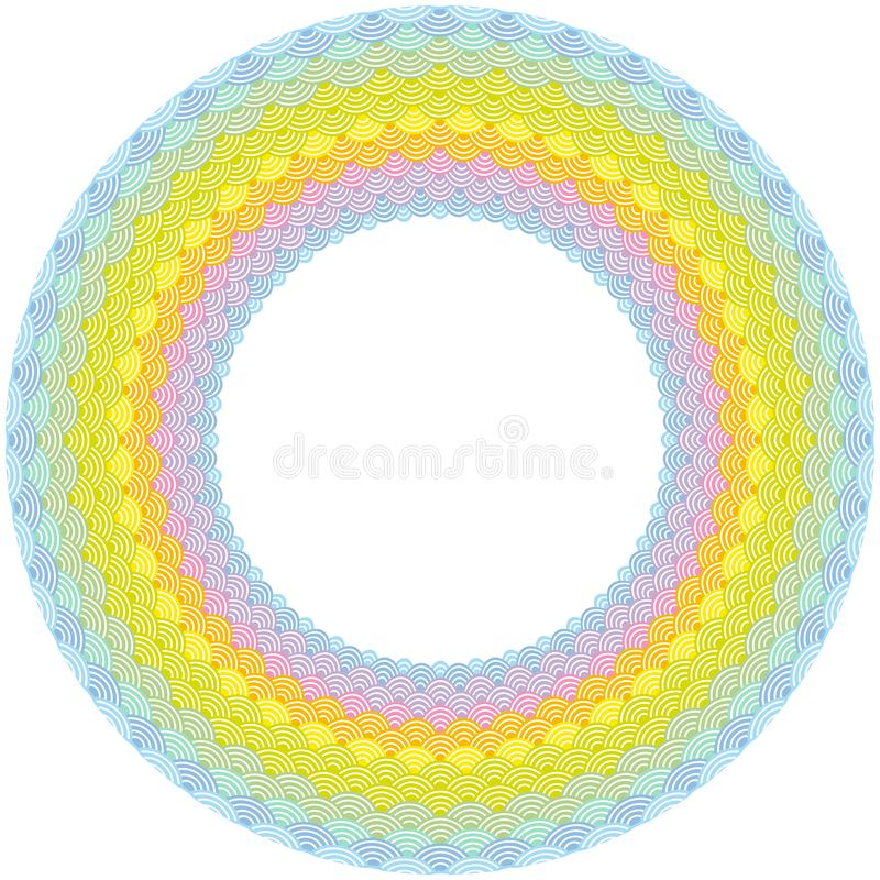 Rainbow frame Round Wreath composition. scales simple Nature background with Asian wave circle pattern Green yellow orange pink pu stock illustration