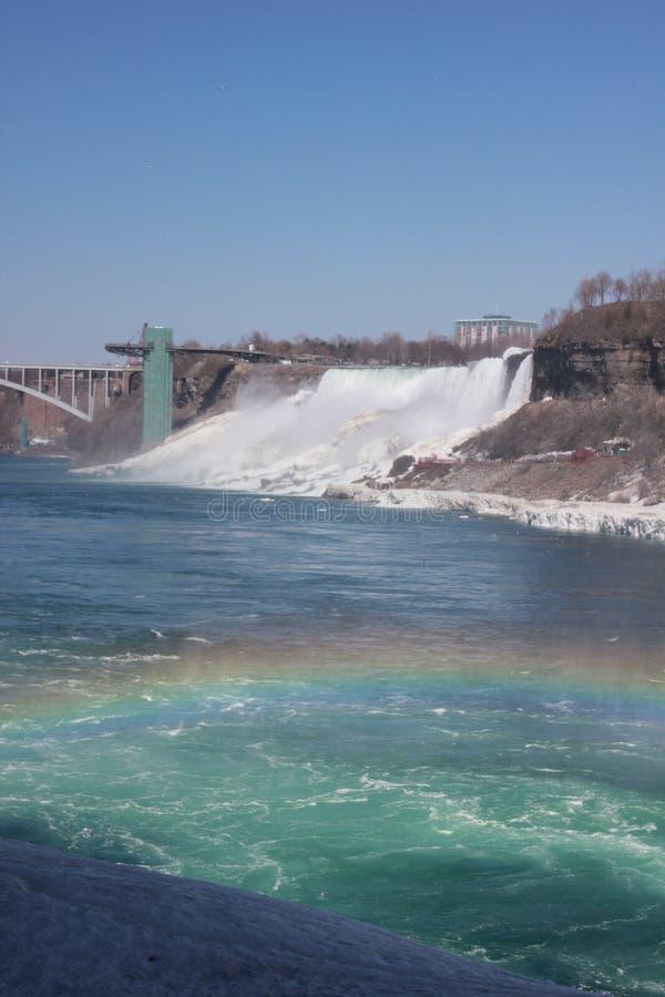 Rainbow and Frozen falls, Niagara, Canada stock image