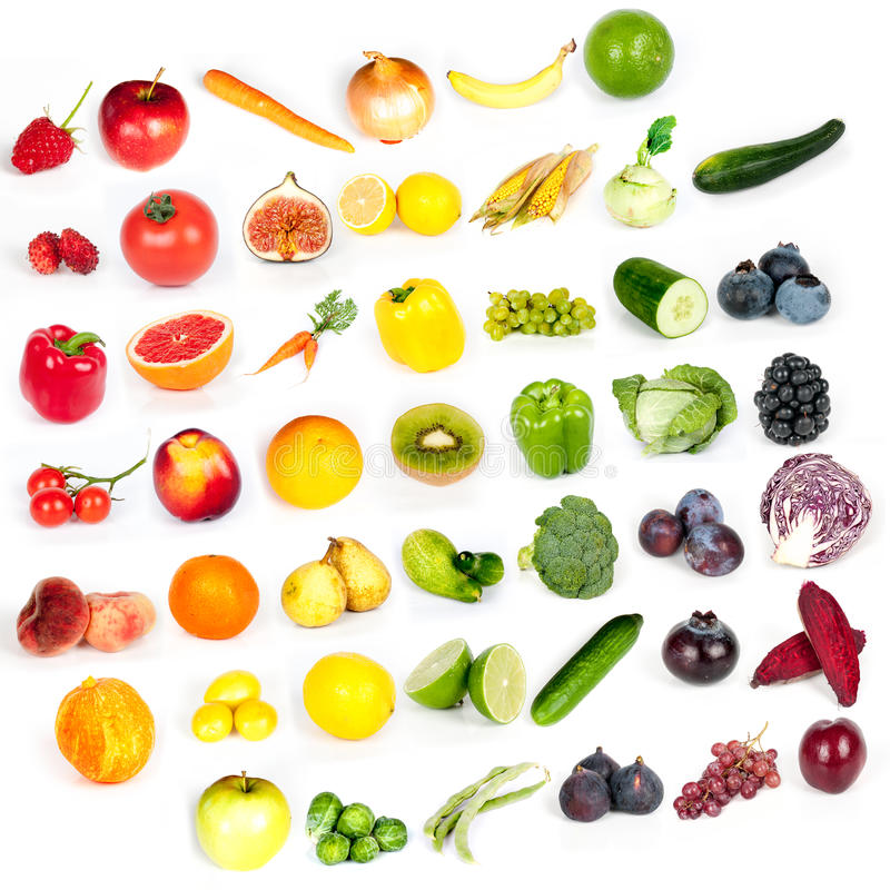 Rainbow of fruits and vegetables. Rainbow collection of fruits and vegetables stock photos