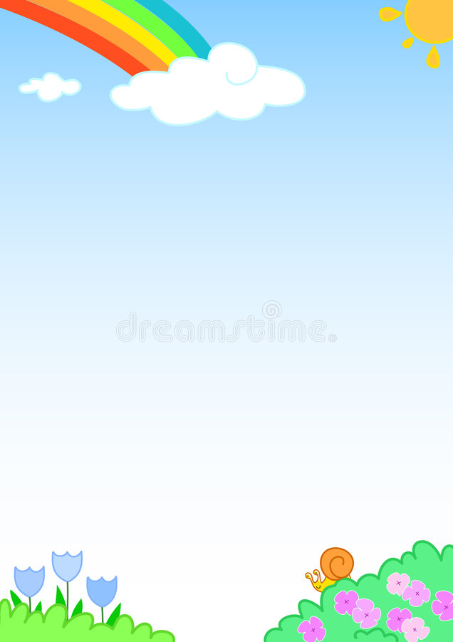Download Rainbow Background With Funny Slug And Flowers Stock Vector - Image: 1827729