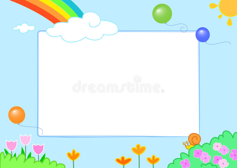 Rainbow with cute slug and flowers, frame. Rainbow sky with flowers and a happy slug. Photo frame. Vector illustration for little children royalty free illustration