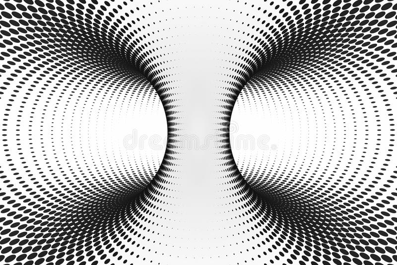 Black and white dotted spiral tunnel. Striped twisted spotted optical illusion. Abstract halftone background. 3D render. royalty free stock image