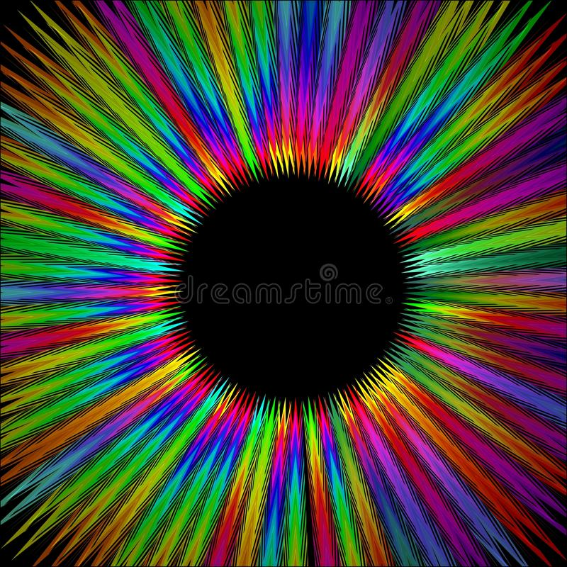 Rainbow furry circle shape with black area in middle, gritty psychedelic rays in life energy aura vector illustration