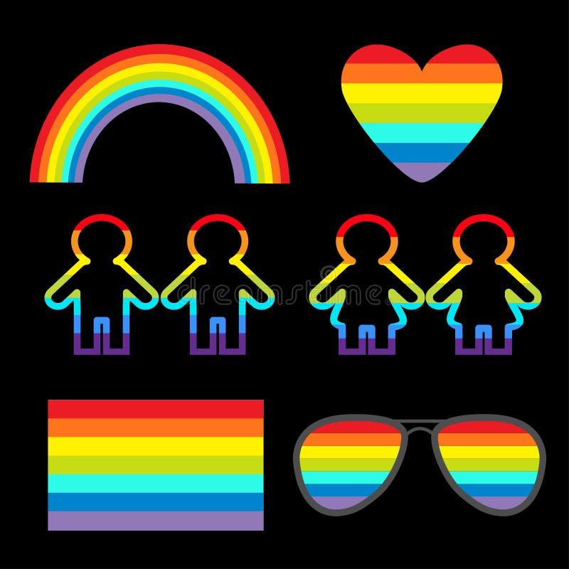 Free Rainbow Gasses, Heart, Sunglasses, Flag, Girl Boy Pictogram Icon Set. Gay Marriage. LGBT Pride Sign Symbol. Flat Design. Black Bac Royalty Free Stock Photos - 128904918