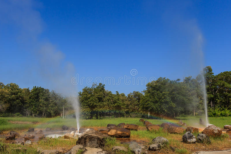 Rainbow at the Geyser royalty free stock photography