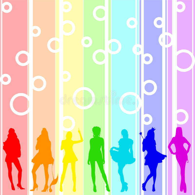 Download Rainbow girls stock vector. Image of blue, happiness, balloon - 5128768