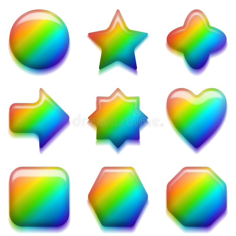 Rainbow glass buttons, set vector illustration